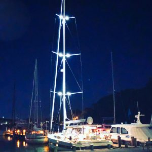 Yacht with mast lights on - DOUBLESTAR