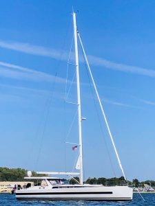 Yacht at anchor - DOUBLESTAR