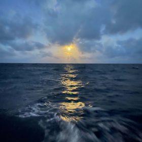 Full Moon Rising over Caribbean Sea